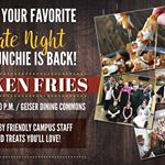 Chicken Fries Night is today, from 9-10 p.m. in the Geiser Dining Commons of the Dahlstrom Student Center. Don't forget to bring a valid student ID! #KeukaCollege #ChickenFries #QKA #FLX 🐺🍴